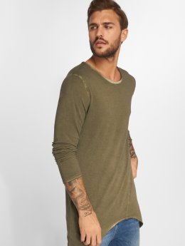 VSCT Clubwear Tričká dlhý rukáv Longshirt Oilwash kaki