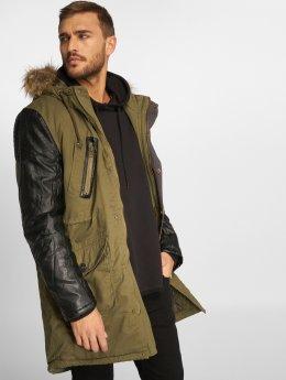 VSCT Clubwear Zimné bundy Leatherlook Sleeves kaki