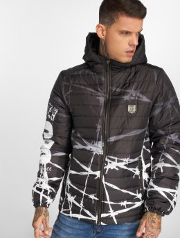 Yakuza Manteau hiver Barbwire Hooded Quilted noir
