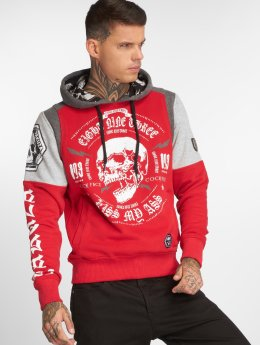 Yakuza Sweat capuche Skull Tri Face rouge