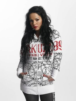 Yakuza Sweat capuche zippé Allover Chains blanc
