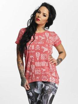Yakuza T-Shirt Allover Label Boyfriend rouge