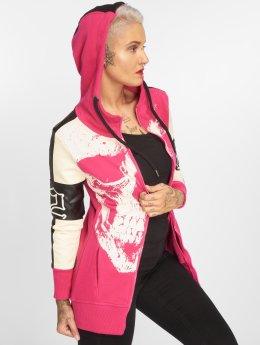 Yakuza Zip Hoodie Skull Mixed Long pink