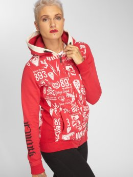 Yakuza Zip Hoodie Allover Label Flex röd