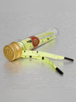 Tubelaces Schoenveter White Flat Splatter geel