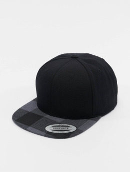 Flexfit Snapback Cap Cheched Flanell Peak schwarz