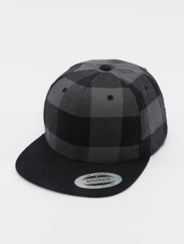Flexfit Snapback Cap Checked Flanell schwarz