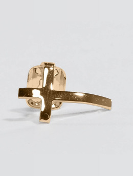 KING ICE Joyería para diente Gold_Plated Cross Single Tooth Cap Top  oro
