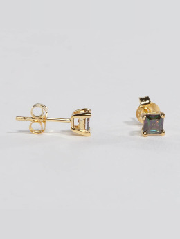 KING ICE Orecchini Gold_Plated 4mm 925 Sterling_Silver CZ Princess Cut oro
