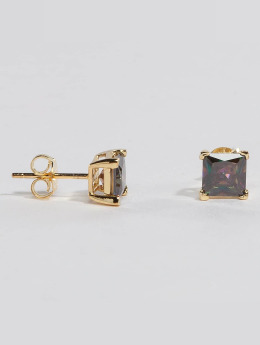 KING ICE Pendiente Gold_Plated 6mm 925 Sterling_Silver CZ Princess Cut oro