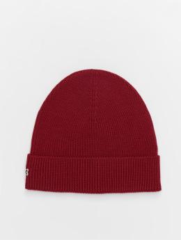 Lacoste Beanie Half Cardigan Rib red