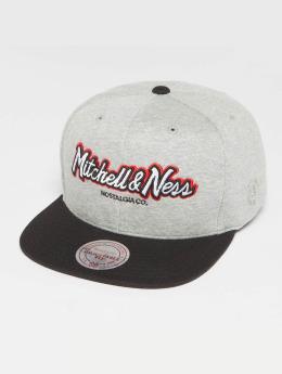Mitchell & Ness The 3-Tone Own Brand Pinscript Snapback Cap Grey Heather/Black/Red