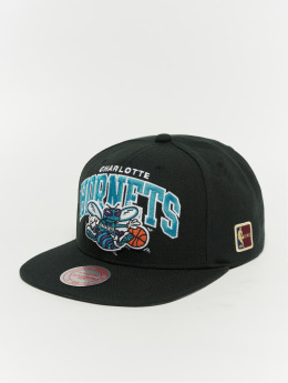 Mitchell & Ness Black Team Arch Charlotte Hornets Snapback Cap Black