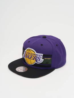 Mitchell & Ness Woodland LA Lakers Covert Snapback Cap Purple