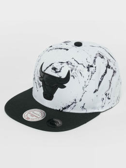 Mitchell & Ness Snapback Caps White And Black Marble Chicago Bulls hvit