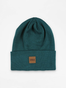 Urban Classics Bonnet Leather Patch Long bleu
