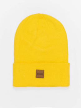 Urban Classics Bonnet Leather Patch Long jaune