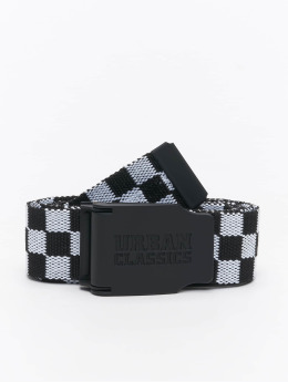 Urban Classics riem Canvas Checkerboard zwart