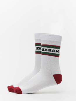 Urban Classics Sukat 2-Pack Logo Stripe Sport valkoinen