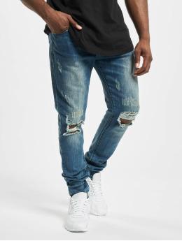 Aarhon Skinny Jeans Cuts Out niebieski