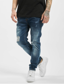 Aarhon Slim Fit Jeans Destroyed modrá