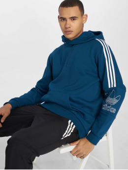 adidas originals Bluzy z kapturem Outline niebieski