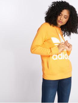 adidas originals Bluzy z kapturem Trefoil pomaranczowy