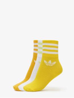 adidas Originals Ponožky Mid Cut Solid 3 Pack zlatá