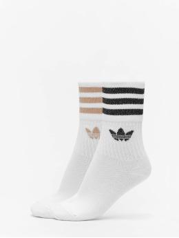adidas Originals Sokker Mid Cut Glitter 2 Pack  hvit
