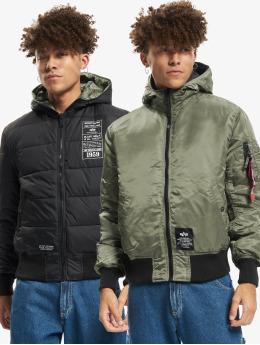 Alpha Industries Зимняя куртка Hooded Puffer FD Reversible зеленый
