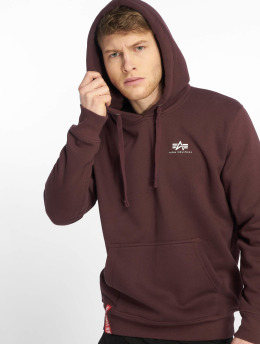Alpha Industries Bluzy z kapturem Basic Small Logo czerwony