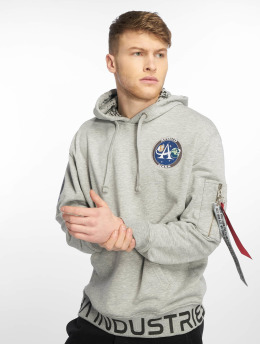 Alpha Industries Hoodie Moon Landing grey