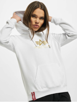 Alpha Industries Hoodie New Basic Foil Print white