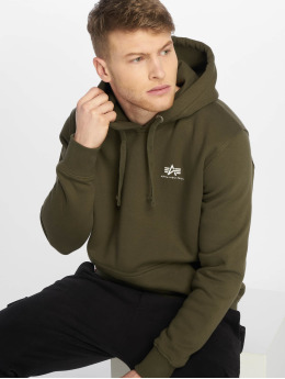 Alpha Industries Hoodies Basic Small Logo zelený