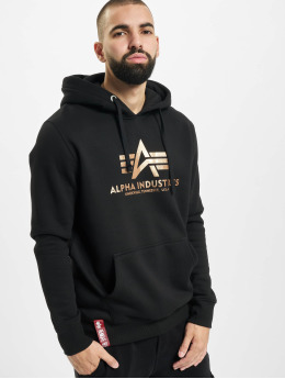 Alpha Industries Hoody Industries Basic Foil Print zwart