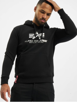 Alpha Industries Hoody Basic Foil Print zwart