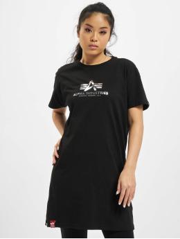 Alpha Industries T-Shirt Basic T Long Foil Print  noir