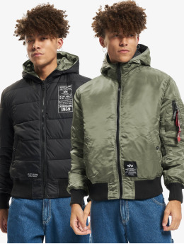 Alpha Industries Winter Jacket Hooded Puffer FD Reversible green
