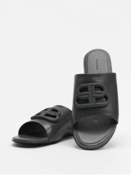 Balenciaga Шлёпанцы Oval Flat Black Logo черный