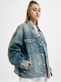 Balenciaga Denim Jacket Large Fit All Over Logo  blue