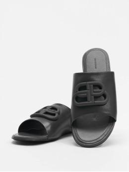 Balenciaga Sandály Oval Flat Black Logo čern
