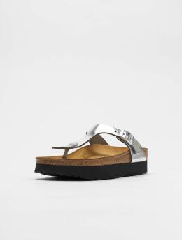 Birkenstock Sandals Gizeh Platform NL silver colored