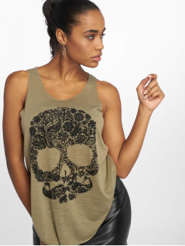 Bisous Project Tank Tops Skull caqui