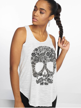 Bisous Project Tank Tops Skull white