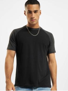 Build Your Brand Camiseta Raglan Contras negro