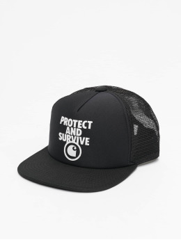 Carhartt WIP Trucker Cap Protect & Survive  black