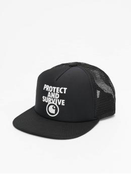 Carhartt WIP Trucker Cap Protect & Survive schwarz