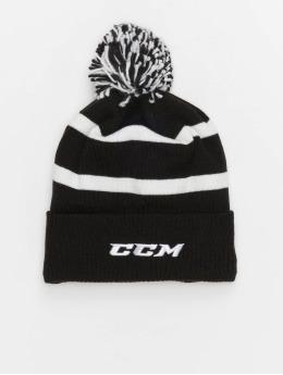 CCM gorro de punto Team Fleece Cuffed Pom Knit negro