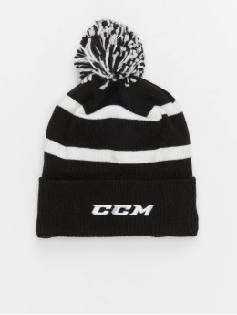 CCM Wollmützen Team Fleece Cuffed Pom Knit čern
