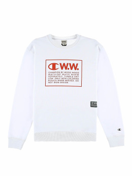 Champion Pullover by Wood Wood Mike Crewneck Sweatshirt weiß
